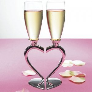 Two Hearts Become One Toasting Wedding Flutes image