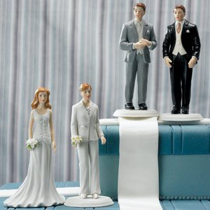Fashionable Couple Mix and Match Wedding Cake Toppers image