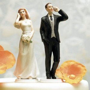 Cell Phone Bride & Groom Humorous Wedding Cake Toppers image