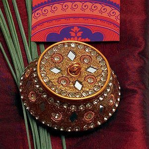 Exotic Golden Beaded Lac Boxes (Set of 4) image