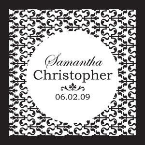 Personalized Ornamental Black & White Favor Tags (Set of 20) image