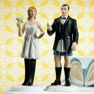 The Bride Wears the Pants Funny Wedding Cake Topper image