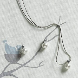 White Pearl with Crystal Necklace & Earrings image