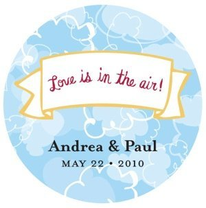 Personalized Love is in the Air Round Stickers image