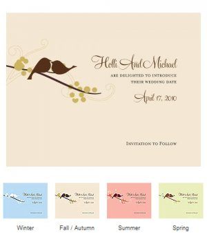 Love Bird Save the Date Cards (Set of 8 - 4 Colors) image
