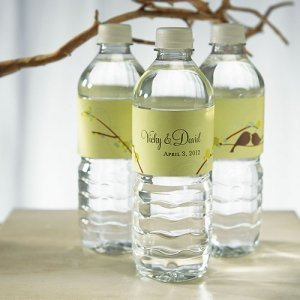 Love Birds Personalized Water Bottles for Weddings image