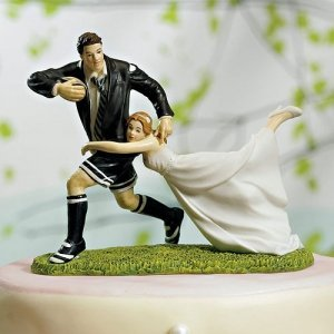 Love Match Rugby Couple Cake Topper image