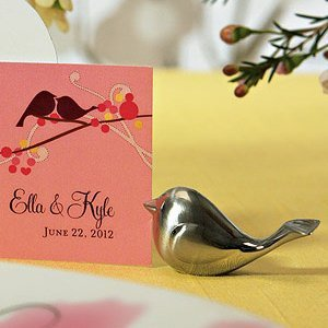 Brushed Silver Love Bird Placecard Holders (Set of 8) image