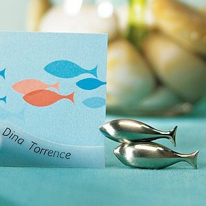 Double Fish Brushed Silver Place Card Holders (Set of 8) image