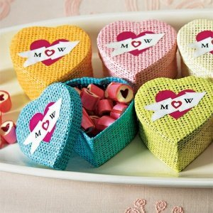 Woven Heart Shaped Box with Lid (Set of 6) image
