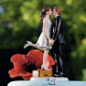 A Kiss and We're Off! Wedding Couple Topper (3 Skin Tones) image
