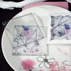 Artistic Botanical Butterfly Coaster Party Favors image
