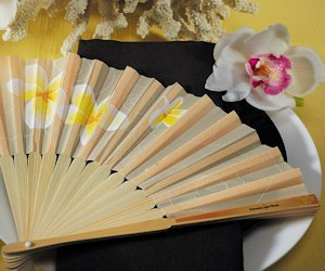 Tropical Plumeria Bamboo Fans (Set of 6) image