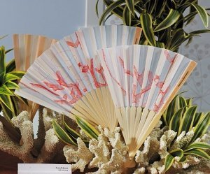 Coral Reef Hand Held Fans for Weddings (Set of 6) image
