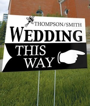 Personalized 'Wedding This Way' Outdoor Sign (6 Colors) image