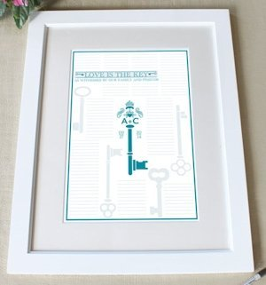 Custom 'Love is the Key' Framed Certificate (9 Colors) image