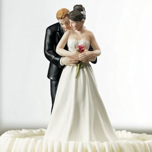 'Yes to the Rose' Bride and Groom Wedding Cake Topper image