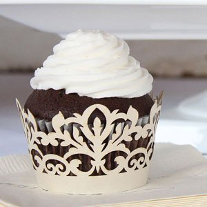 Damask Wedding Cupcake Wrappers (Set of 12 - 4 Colors) image