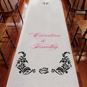 Personalized Love Bird Damask Aisle Runner (15 Colors) image