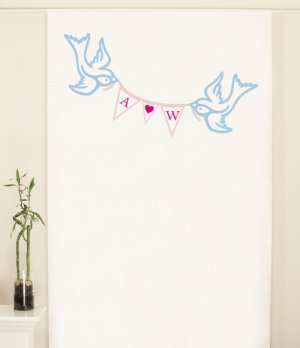 Love Birds Pennant Personalized Photo Backdrop image