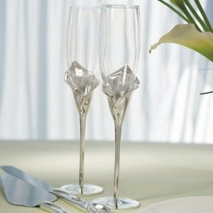 Personalized Calla Lily Toasting Flutes image