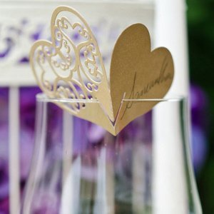 Laser Expressions Shimmer Double Heart Die Cut Place Card image