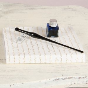 Glass Dip Pen Writing Set - Clear or Black image