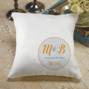 Circle Floral Monogrammed Ring Bearer Pillow (6 Colors) image