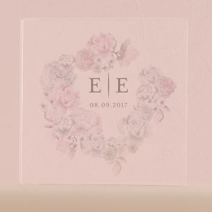 Floral Dreams Personalized Clear Acrylic Block Cake Topper image