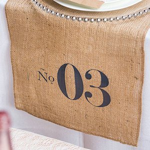 Burlap Chic Personalized Table Number Burlap Table Runner image