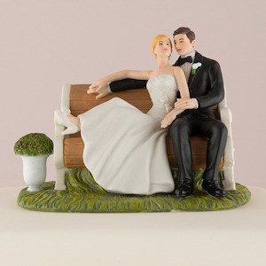 Sitting Pretty on a Park Bench Couple Cake Topper image