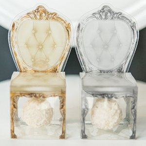 Transparent Chair Favor Boxes in Gray or Gold (Set of 10) image