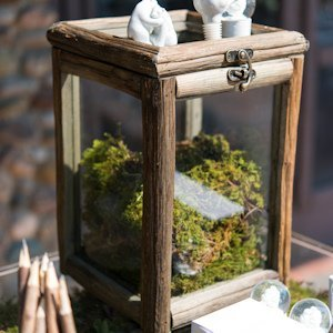 Rustic Wood And Glass Box With Hinged Lid image