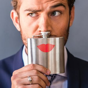 Red Lips Stainless Steel Flask image