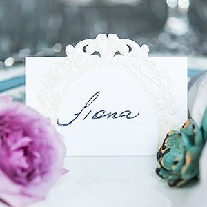 Pearls and Lace Laser Embossed Place Cards (Set of 20) image