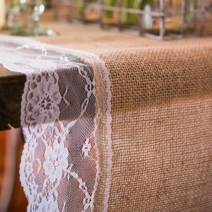 Natural Burlap Table Runner with Lace Edging (2 Sizes) image