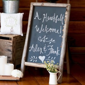 Self Standing Chalkboard Sign with Rustic Wood Frame image