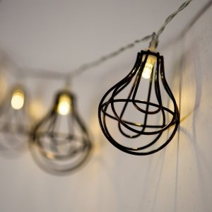 LED String of Lights with Light Bulb Wire Cage image