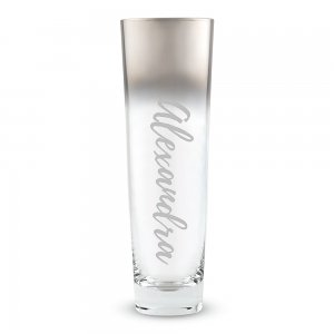 Modern Calligraphy Stemless Flute with Silver Ombre Fade image
