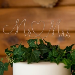 Mr. & Mrs. Twisted Wire Cake Topper image