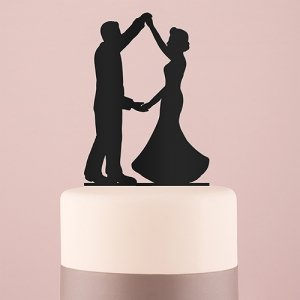 Dancing Silhouette Acrylic Cake Topper - Black or White image