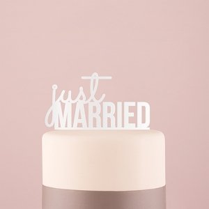 Just Married Acrylic Cake Topper - White or Black image
