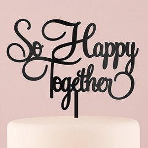 So Happy Together Acrylic Cake Topper - White or Black image