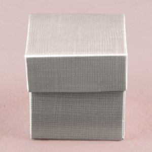 Lustrous Silver Favor Box with Lid (Set of 10) image