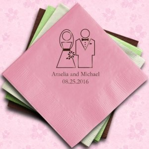 Personalized Bride & Groom Wedding Reception Napkins image