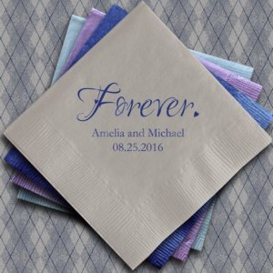 Forever Printed Napkins for Weddings (Set of 100) image