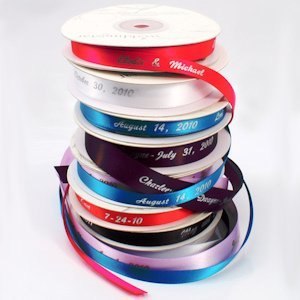 Personalized Wedding Favor Ribbon (4 Sizes - 31 Colors) image