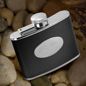 Engraved Leather Flask image