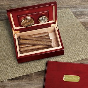 Personalized Cherry Wood Cigar Humidor image