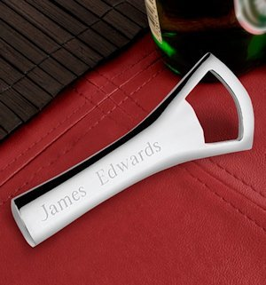 Engraved Silver Plated Bottle Opener image